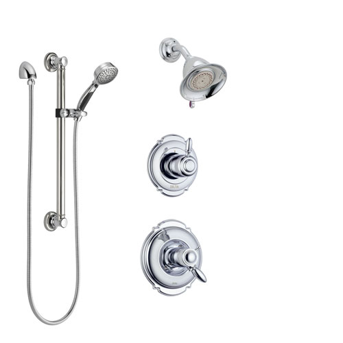 Delta Victorian Chrome Finish Shower System with Dual Thermostatic Control Handle, Diverter, Showerhead, and Hand Shower with Grab Bar SS17T25513
