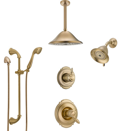 Delta Victorian Champagne Bronze Shower System with Dual Thermostatic Control, Diverter, Showerhead, Ceiling Showerhead, and Hand Shower SS17T2551CZ4