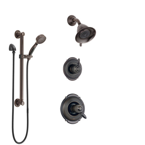 Delta Victorian Venetian Bronze Shower System with Dual Thermostatic Control Handle, Diverter, Showerhead, and Hand Shower with Grab Bar SS17T2551RB3