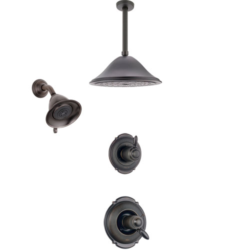 Delta Victorian Venetian Bronze Shower System with Dual Thermostatic Control Handle, Diverter, Showerhead, and Ceiling Mount Showerhead SS17T2551RB6