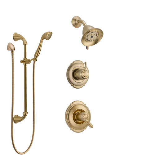Delta Victorian Champagne Bronze Shower System with Dual Thermostatic Control Handle, Diverter, Showerhead, and Hand Shower with Slidebar SS17T2552CZ2