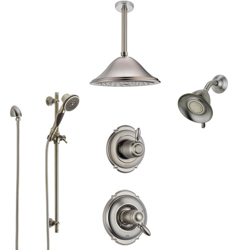 Delta Victorian Dual Thermostatic Control Stainless Steel Finish Shower System, Diverter, Showerhead, Ceiling Showerhead, and Hand Shower SS17T2552SS5