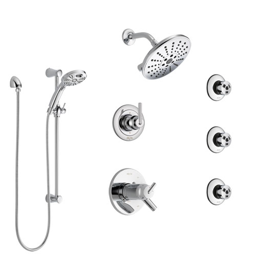 Delta Trinsic Chrome Shower System with Dual Thermostatic Control, 6-Setting Diverter, Showerhead, 3 Body Sprays, and Temp2O Hand Shower SS17T25913