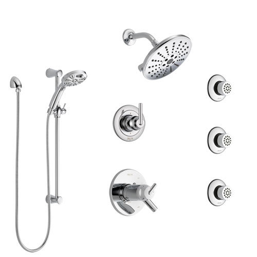Delta Trinsic Chrome Shower System with Dual Thermostatic Control, 6-Setting Diverter, Showerhead, 3 Body Sprays, and Temp2O Hand Shower SS17T25914