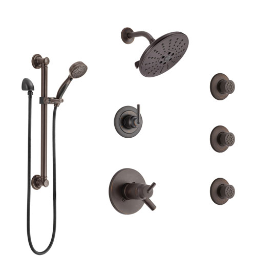 Delta Trinsic Venetian Bronze Shower System with Dual Thermostatic Control, Diverter, Showerhead, 3 Body Sprays, and Grab Bar Hand Shower SS17T2591RB1