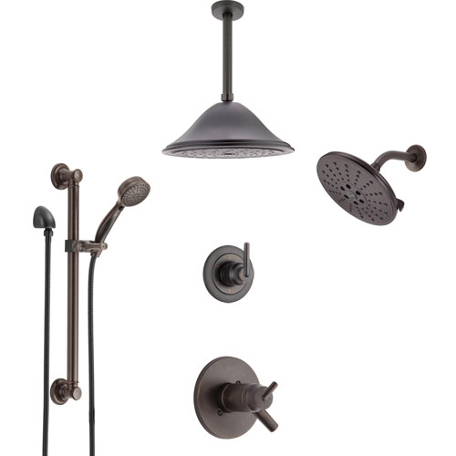 Delta Trinsic Venetian Bronze Dual Thermostatic Control Shower System, Diverter, Showerhead, Ceiling Showerhead, and Grab Bar Hand Spray SS17T2591RB6