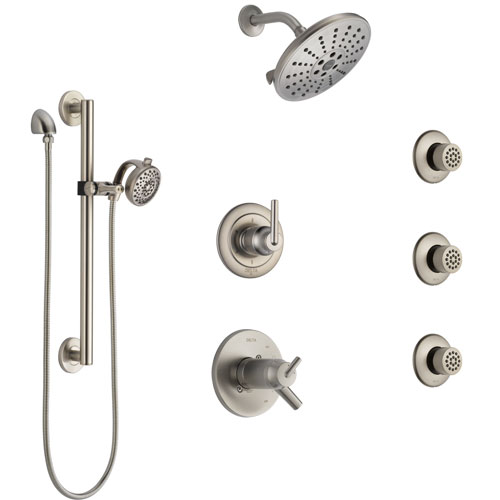 Delta Trinsic Dual Thermostatic Control Stainless Steel Finish Shower System, Diverter, Showerhead, 3 Body Sprays, Grab Bar Hand Spray SS17T2591SS5