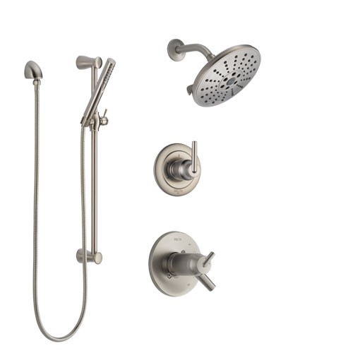 Delta Trinsic Dual Thermostatic Control Handle Stainless Steel Finish Shower System, Diverter, Showerhead, and Hand Shower with Slidebar SS17T2592SS5
