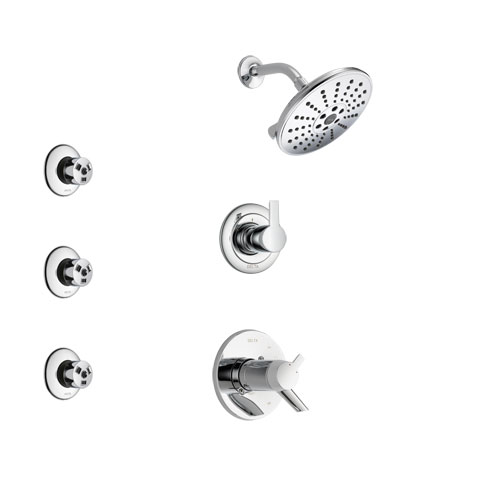Delta Compel Chrome Finish Shower System with Dual Thermostatic Control Handle, 3-Setting Diverter, Showerhead, and 3 Body Sprays SS17T26112