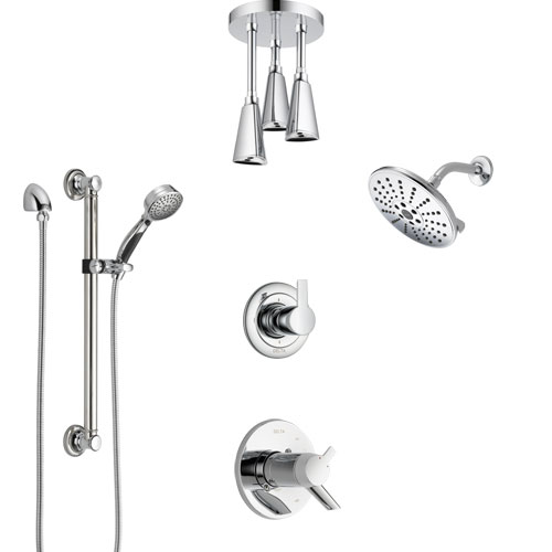 Delta Compel Chrome Shower System with Dual Thermostatic Control, Diverter, Showerhead, Ceiling Mount Showerhead, and Grab Bar Hand Shower SS17T26126