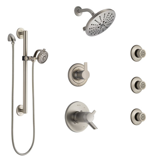Delta Compel Dual Thermostatic Control Stainless Steel Finish Shower System, Diverter, Showerhead, 3 Body Sprays, and Grab Bar Hand Spray SS17T2612SS5