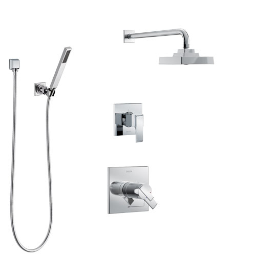 Delta Ara Chrome Finish Shower System with Dual Thermostatic Control Handle, Diverter, Showerhead, and Hand Shower with Wall Bracket SS17T26714