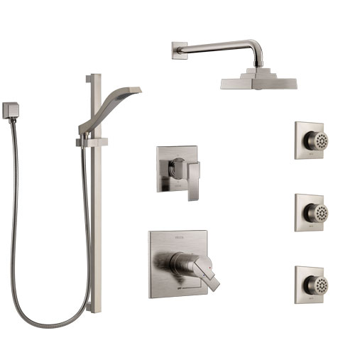 Delta Ara Dual Thermostatic Control Stainless Steel Finish Shower System, 6-Setting Diverter, Showerhead, 3 Body Sprays, and Hand Shower SS17T2671SS4