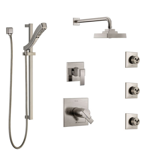 Delta Ara Dual Thermostatic Control Stainless Steel Finish Shower System, 6-Setting Diverter, Showerhead, 3 Body Sprays, and Hand Shower SS17T2671SS6