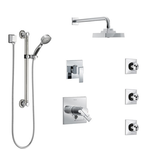 Delta Ara Chrome Shower System with Dual Thermostatic Control, 6-Setting Diverter, Showerhead, 3 Body Sprays, and Hand Shower with Grab Bar SS17T26722