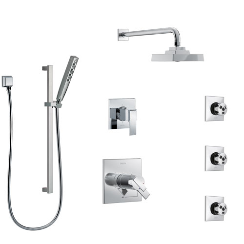Delta Ara Chrome Finish Shower System with Dual Thermostatic Control Handle, 6-Setting Diverter, Showerhead, 3 Body Sprays, and Hand Shower SS17T26723