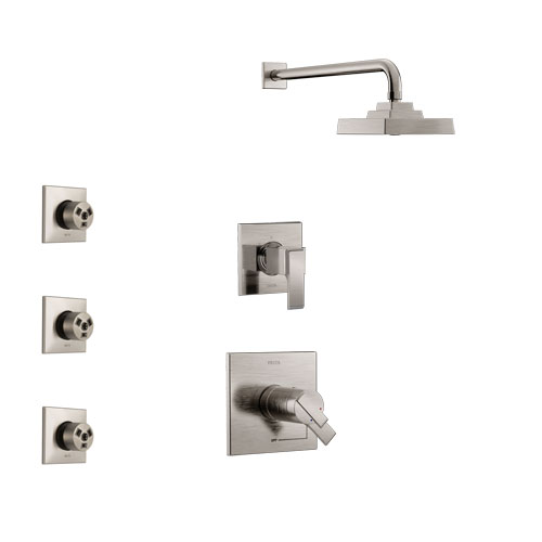 Delta Ara Stainless Steel Finish Shower System with Dual Thermostatic Control Handle, 3-Setting Diverter, Showerhead, and 3 Body Sprays SS17T2672SS1