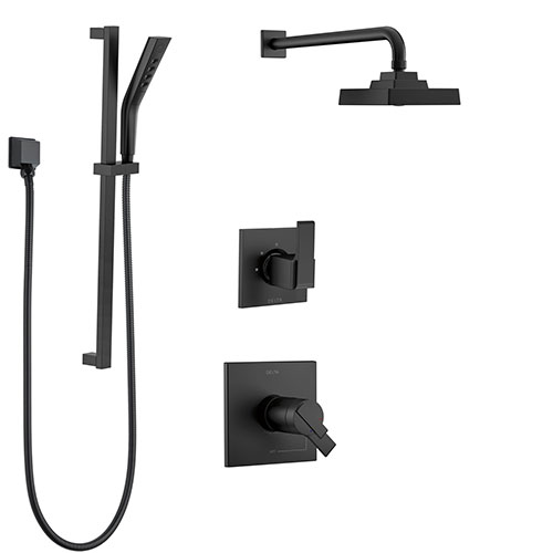Delta Ara Matte Black Finish Thermostatic 17T Shower System with Diverter, Wall Mount Showerhead, and Hand Shower with Slide Bar SS17T2673BL2