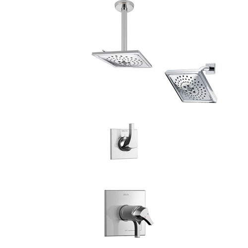 Delta Zura Chrome Finish Shower System with Dual Thermostatic Control Handle, 3-Setting Diverter, Showerhead, and Ceiling Mount Showerhead SS17T27413
