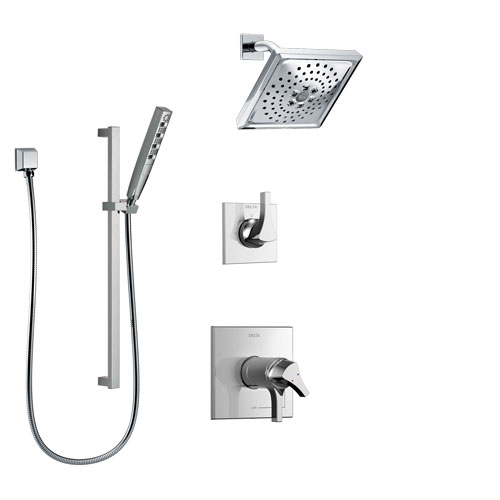 Delta Zura Chrome Finish Shower System with Dual Thermostatic Control Handle, 3-Setting Diverter, Showerhead, and Hand Shower with Slidebar SS17T27416