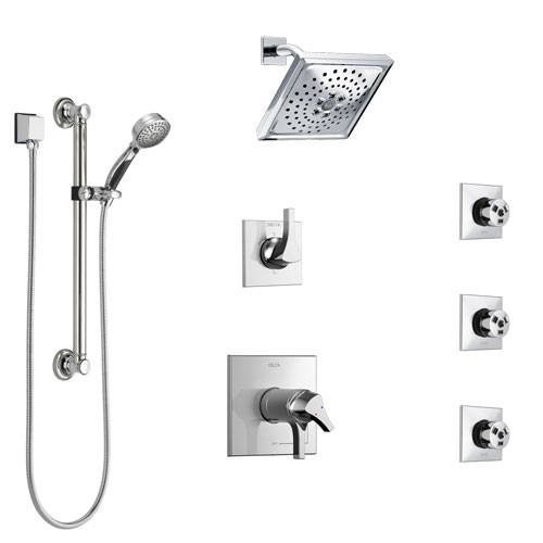 Delta Zura Chrome Shower System with Dual Thermostatic Control, Diverter, Showerhead, 3 Body Sprays, and Hand Shower with Grab Bar SS17T27421