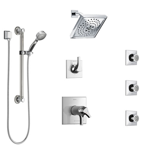 Delta Zura Chrome Shower System with Dual Thermostatic Control, Diverter, Showerhead, 3 Body Sprays, and Hand Shower with Grab Bar SS17T27422