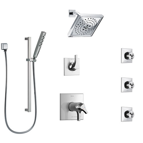 Delta Zura Chrome Shower System with Dual Thermostatic Control Handle, 6-Setting Diverter, Showerhead, 3 Body Sprays, and Hand Shower SS17T27424