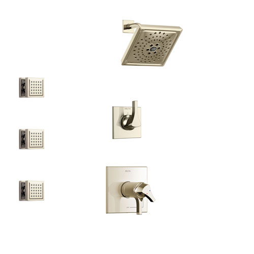 Delta Zura Polished Nickel Finish Shower System with Dual Thermostatic Control Handle, 3-Setting Diverter, Showerhead, and 3 Body Sprays SS17T274PN1