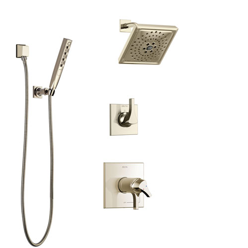 Delta Zura Polished Nickel Shower System with Dual Thermostatic Control Handle, Diverter, Showerhead, and Hand Shower with Wall Bracket SS17T274PN2