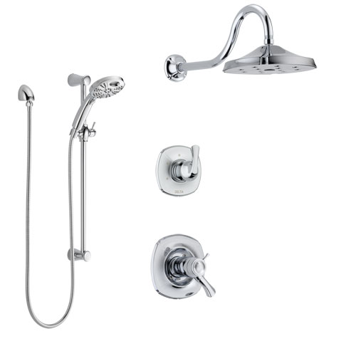 Delta Addison Chrome Finish Shower System with Dual Thermostatic Control Handle, Diverter, Showerhead, and Temp2O Hand Shower with Slidebar SS17T29214