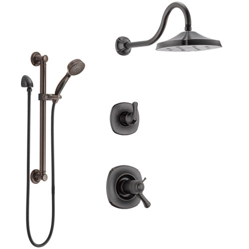 Delta Addison Venetian Bronze Shower System with Dual Thermostatic Control Handle, Diverter, Showerhead, and Hand Shower with Grab Bar SS17T2921RB3