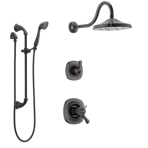 Delta Addison Venetian Bronze Shower System with Dual Thermostatic Control Handle, Diverter, Showerhead, and Hand Shower with Slidebar SS17T2921RB4