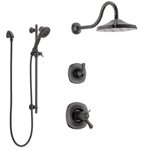 Delta Addison Venetian Bronze Shower System with Dual Thermostatic Control Handle, Diverter, Showerhead, and Hand Shower with Slidebar SS17T2921RB5