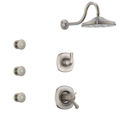 Delta Addison Dual Thermostatic Control Handle Stainless Steel Finish Shower System, 3-Setting Diverter, Showerhead, and 3 Body Sprays SS17T2921SS1