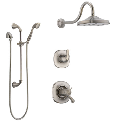 Delta Addison Dual Thermostatic Control Handle Stainless Steel Finish Shower System, Diverter, Showerhead, and Hand Shower with Slidebar SS17T2921SS5