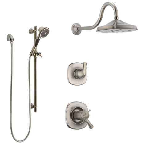 Delta Addison Dual Thermostatic Control Handle Stainless Steel Finish Shower System, Diverter, Showerhead, and Hand Shower with Slidebar SS17T2921SS6
