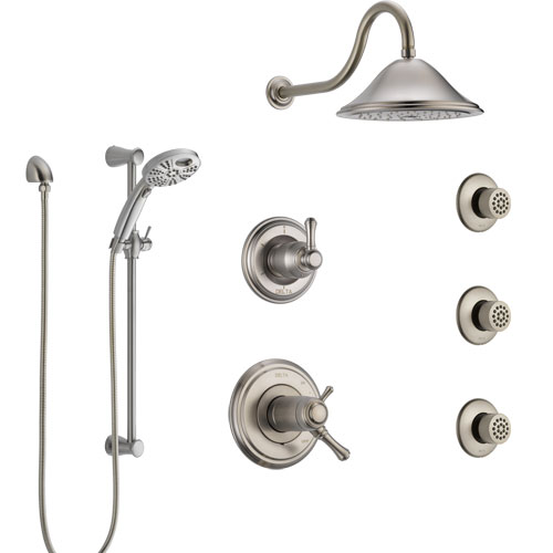 Delta Cassidy Dual Thermostatic Control Stainless Steel Finish Shower System, Diverter, Showerhead, 3 Body Sprays, and Temp2O Hand Shower SS17T2971SS6