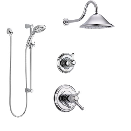 Delta Cassidy Chrome Finish Shower System with Dual Thermostatic Control Handle, Diverter, Showerhead, and Temp2O Hand Shower with Slidebar SS17T29724
