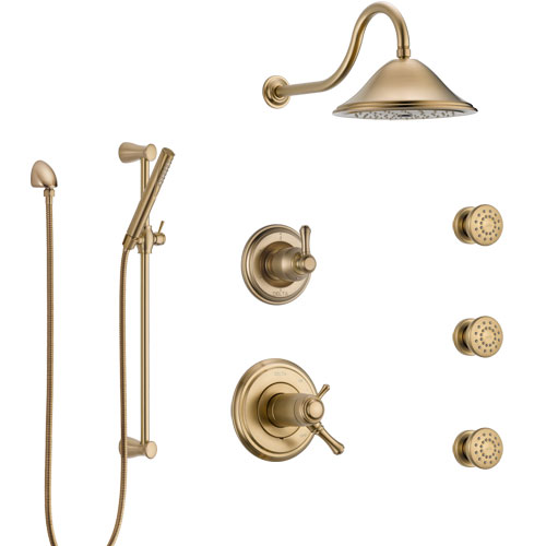 Delta Cassidy Champagne Bronze Shower System with Dual Thermostatic Control, Diverter, Showerhead, 3 Body Sprays, and Hand Shower SS17T2972CZ1