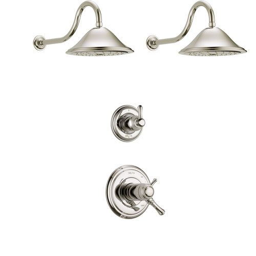 Delta Cassidy Polished Nickel Finish Shower System with Dual Thermostatic Control Handle, 3-Setting Diverter, 2 Showerheads SS17T2972PN3