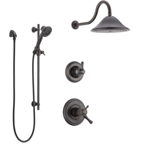 Delta Cassidy Venetian Bronze Shower System with Dual Thermostatic Control Handle, Diverter, Showerhead, and Hand Shower with Slidebar SS17T2972RB5