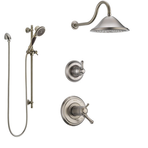 Delta Cassidy Dual Thermostatic Control Handle Stainless Steel Finish Shower System, Diverter, Showerhead, and Hand Shower with Slidebar SS17T2972SS5