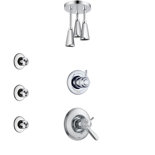 Delta Lahara Chrome Finish Shower System with Dual Thermostatic Control Handle, Diverter, Ceiling Mount Showerhead, and 3 Body Sprays SS17T3813