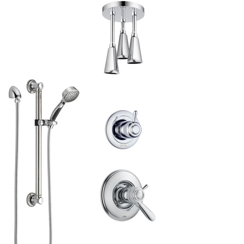 Delta Lahara Chrome Shower System with Dual Thermostatic Control Handle, Diverter, Ceiling Mount Showerhead, and Hand Shower with Grab Bar SS17T3817