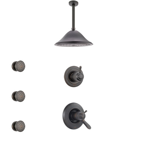 Delta Lahara Venetian Bronze Shower System with Dual Thermostatic Control Handle, Diverter, Ceiling Mount Showerhead, and 3 Body Sprays SS17T381RB1