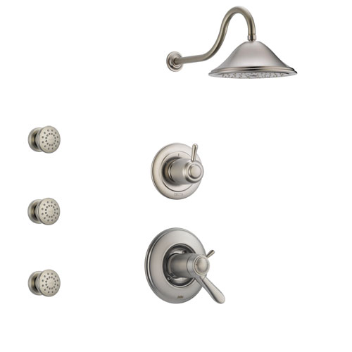 Delta Lahara Stainless Steel Finish Shower System with Dual Thermostatic Control Handle, 3-Setting Diverter, Showerhead, and 3 Body Sprays SS17T381SS3