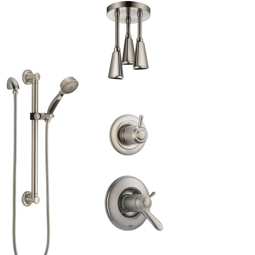 Delta Lahara Dual Thermostatic Control Stainless Steel Finish Shower System, Diverter, Ceiling Mount Showerhead, and Grab Bar Hand Shower SS17T381SS7