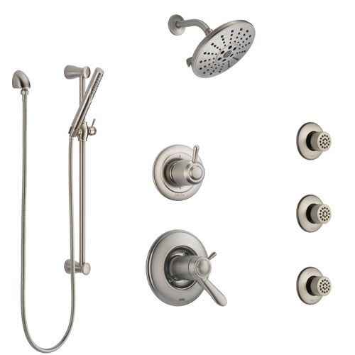 Delta Lahara Dual Thermostatic Control Stainless Steel Finish Shower System, Diverter, Showerhead, 3 Body Sprays, and Hand Shower SS17T382SS1
