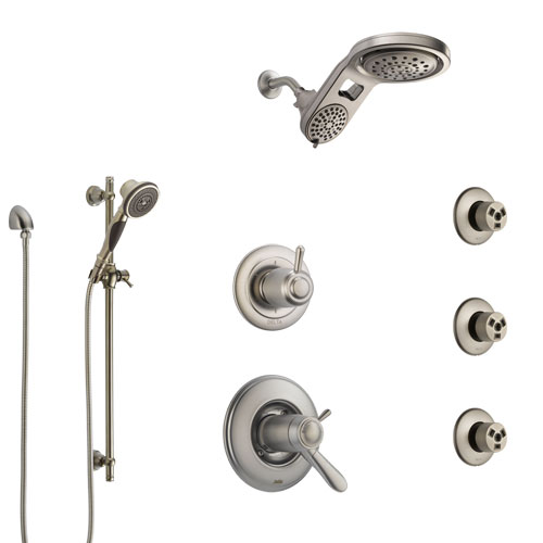 Delta Lahara Dual Thermostatic Control Stainless Steel Finish Shower System, Diverter, Dual Showerhead, 3 Body Sprays, and Hand Shower SS17T382SS8