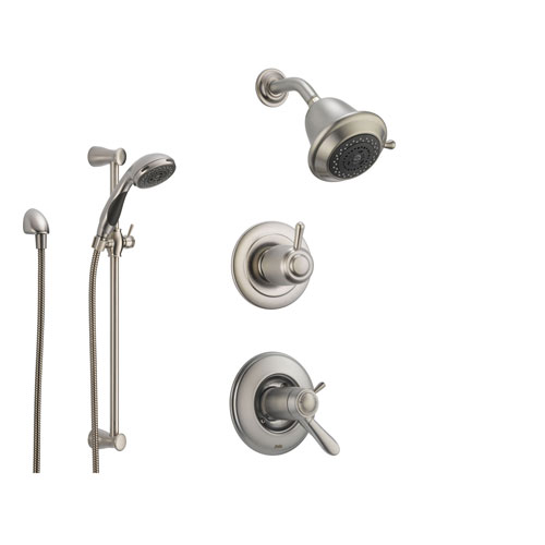 Exceptional Delta Lahara Stainless Steel Shower System With Thermostatic Shower Handle,  3 Setting Diverter, Showerhead, And Handheld Shower SS17T3882SS